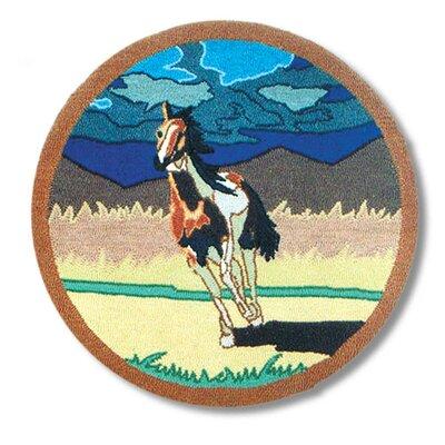 Wild Horses Area Rug Rug Size: Round 3