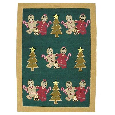 Gingerbread Family Green Area Rug Rug Size: Rectangle 35 x 51