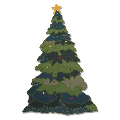 Santa By The Fireside Green Indoor/Outdoor Area Rug Rug Size: 21 x 24