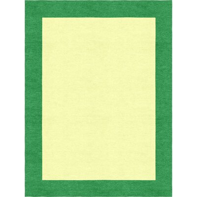 Delaware Hand Tufted Wool Dark Green/Yellow Area Rug Rug Size: 9 x 12