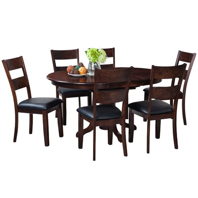 Maryrose 7 Piece Dining Set with Butterfly Leaf Table Color: Espresso