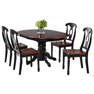 Maryrose 5 Piece Dining Set with Oval Table Color: Cherry/Black