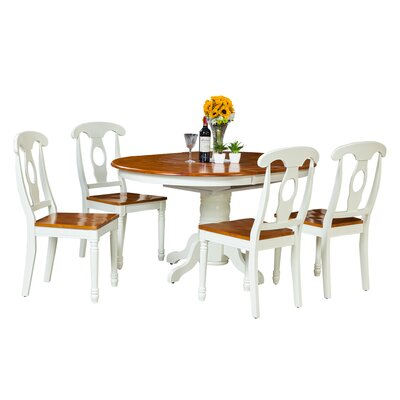 Maryrose 5 Piece Dining Set with Oval Table Color: Oak/White