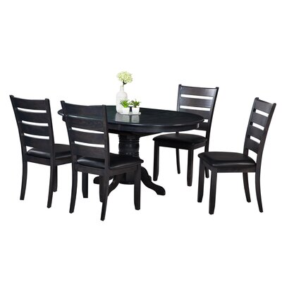 Maryrose 5 Piece Dining Set with Butterfly Leaf Table Color: Dark Gray