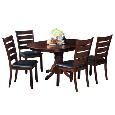 Maryrose 5 Piece Dining Set with Butterfly Leaf Table Color: Espresso