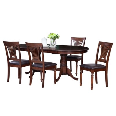 Doretha Traditional 5 Piece Dining Set with Dual Pedestal Table