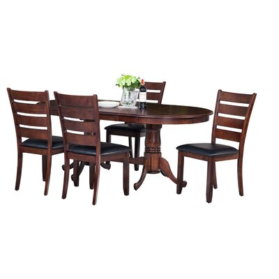 Doretha Traditional 5 Piece Dining Set with Curved Back Chair