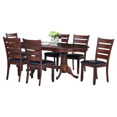 Doretha 7 Piece Dining Set with Curved Back Chair