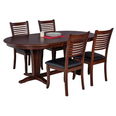 Doretha 5 Piece Wood Dining Set with Dual Pedestal Table