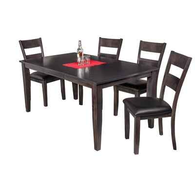 Haan Modern 5 Piece Dining Set with Butterfly Leaf Table Color: Dark Gray