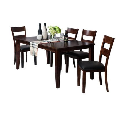 Haan Modern 5 Piece Dining Set with Butterfly Leaf Table Color: Espresso
