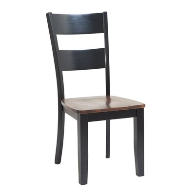 Jesenof Ladder Back Solid Wood Dining Chair Color: Distressed Light Cherry/Black, Set of: Set of 2