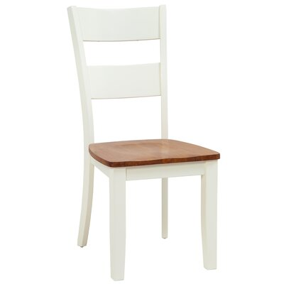 Jesenof Ladder Back Solid Wood Dining Chair Color: Oak/White, Set of: Set of 4
