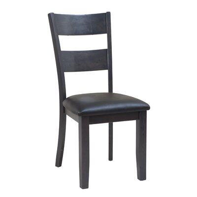 Dinsmore Ladder Back Solid Wood Dining Chair Color: Dark Gray, Set of: Set of 6