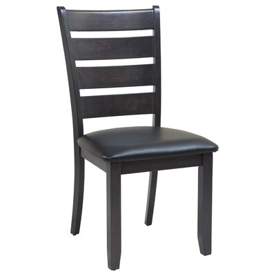 Jesenof Cottage Ladder Back Solid Wood Dining Chair Color: Dark Gray, Set of: Set of 4