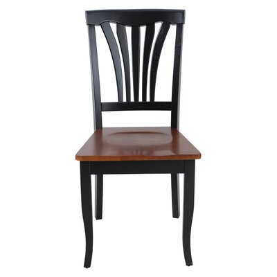 Jesenof Solid Wood Dining Chair Color: Black/Saddle Brown, Set of: Set of 6