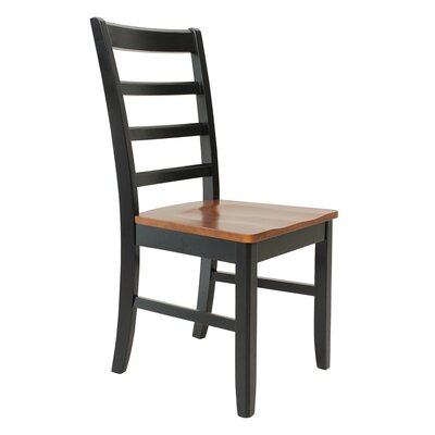 Dinsmore Solid Wood Dining Chair Color: Black/Saddle Brown, Set of: Set of 2