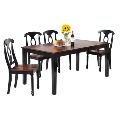 Downieville-Lawson-Dumont Modern 5 Piece Wood Dining Set Color: Distressed Light Cherry/Black