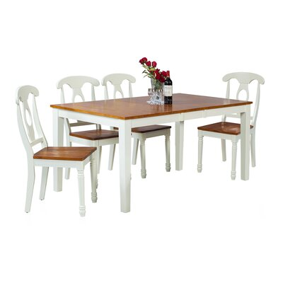 Downieville-Lawson-Dumont Modern 5 Piece Wood Dining Set Color: Oak/White