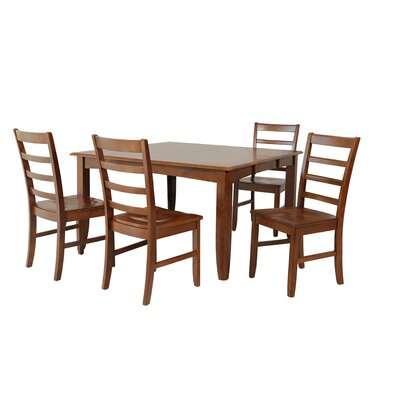 Venizelos 5 Piece Dining Set Color: Saddle Brown