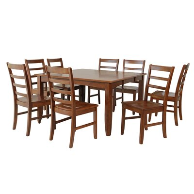 Venizelos 9 Piece Dining Set Color: Saddle Brown