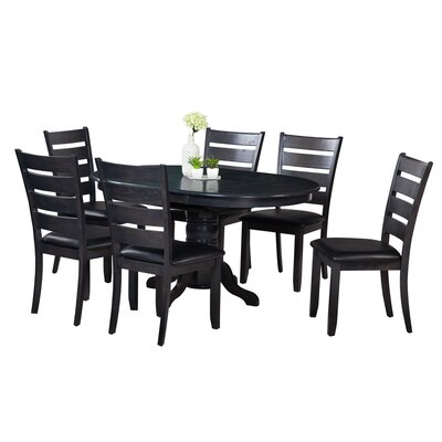 Maryrose 7 Piece Dining Set with Butterfly Leaf Table Color: Dark Gray