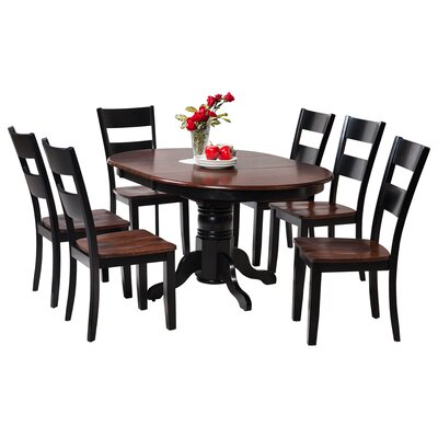 Maryrose 7 Piece Solid Wood Dining Set with Oval Table Color: Distressed Light Cherry/Black