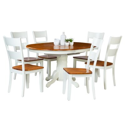 Maryrose 7 Piece Solid Wood Dining Set with Oval Table Color: Oak/White