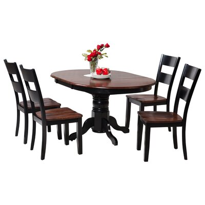 Maryrose 5 Piece Wood Dining Set with Butterfly Leaf Table Color: Distressed Light Cherry/Black