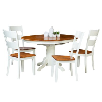 Maryrose 5 Piece Wood Dining Set with Butterfly Leaf Table Color: Oak/White