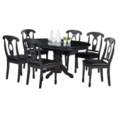 Maryrose 7 Piece Wood Dining Set with Butterfly Leaf Table Color: Dark Gray