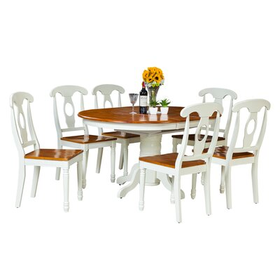 Maryrose 7 Piece Dining Set Color: Oak/White