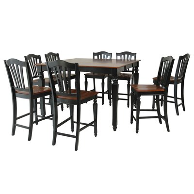 Mirella 9 Piece Counter Height Dining Set Color: Black and Saddle Brown