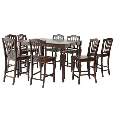 Mirella 9 Piece Counter Height Dining Set Color: Mahogany