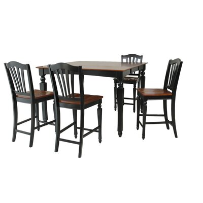 Mirella 5 Piece Counter Height Dining Set Color: Black and Saddle Brown