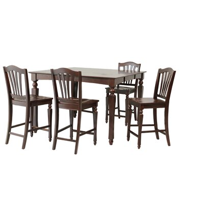 Mirella 5 Piece Counter Height Dining Set Color: Mahogany