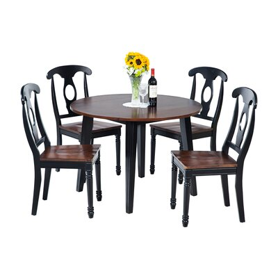 Dinh 5 Piece Drop Leaf Dining Set Color: Distressed Light Cherry/Black