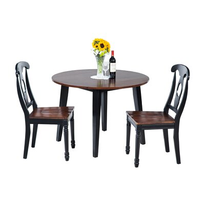 Dinh Modern 3 Piece Drop Leaf Dining Set Color: Distressed Light Cherry/Black
