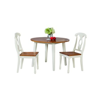 Dinh Modern 3 Piece Drop Leaf Dining Set Color: Oak/White