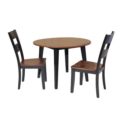 Dinh 3 Piece Drop Leaf Dining Set Color: Distressed Light Cherry and Black