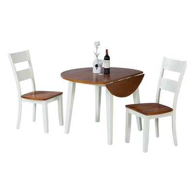 Dinh 3 Piece Drop Leaf Dining Set Color: Oak/White