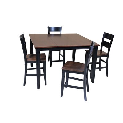 Blessington 5 Piece Counter Height Dining Set Color: Cherry/Black