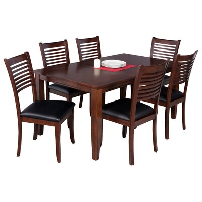 Haan Traditional 7 Piece Wood Dining Set Color: Espresso