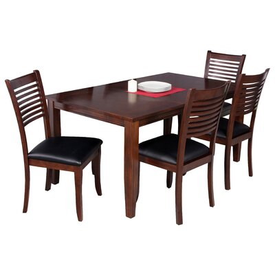 Haan Traditional 5 Piece Dining Set Color: Espresso