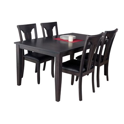 Haan Modern 5 Piece Wood Dining Set Color: Dark Gray
