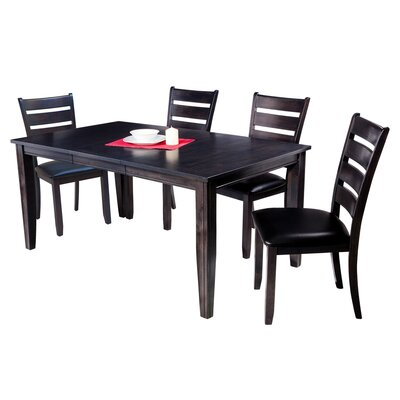 Haan Traditional 5 Piece Dining Set with Ladder Back Chair Color: Dark Gray