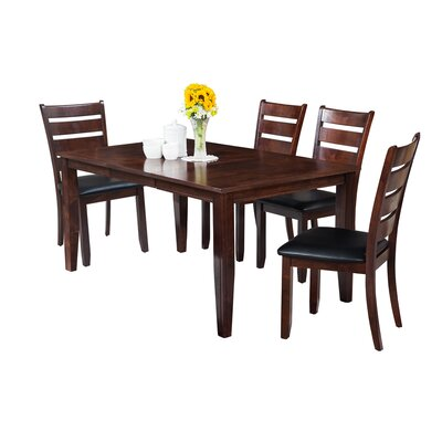 Haan Traditional 5 Piece Dining Set with Ladder Back Chair Color: Espresso