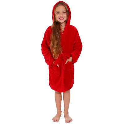 Geurie Childrens Hooded Plush Velvet Bathrobe Size: Medium, Color: Red
