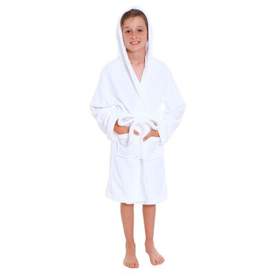 Geurie Childrens Hooded Plush Velvet Bathrobe Size: Large, Color: White