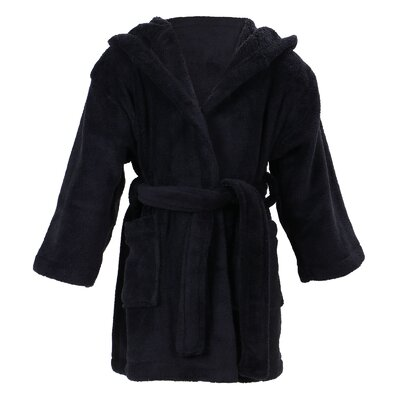 Geurie Childrens Hooded Plush Velvet Bathrobe Size: Large, Color: Black